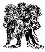 The logo of the Wildmändli Guggenmusik, depicting the Wild Mountain People of Liechtenstein